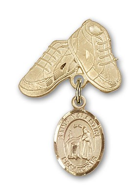 Pin Badge with St. Valentine of Rome Charm and Baby Boots Pin - 14K Solid Gold