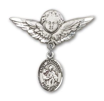 Pin Badge with St. Januarius Charm and Angel with Larger Wings Badge Pin - Silver tone