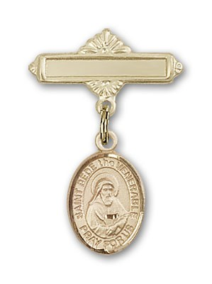 Pin Badge with St. Bede the Venerable Charm and Polished Engravable Badge Pin - Gold Tone