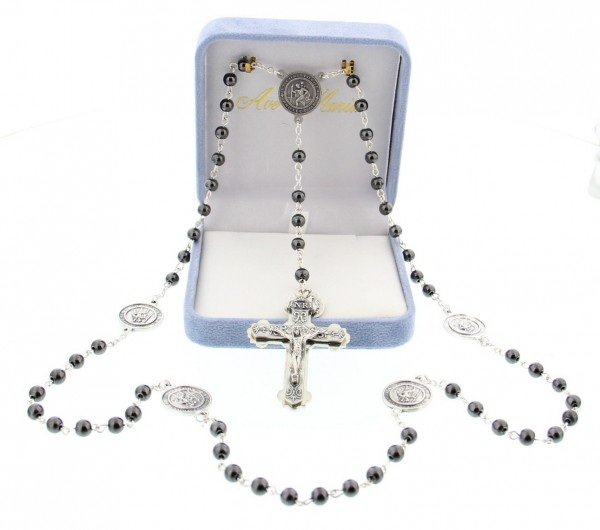 US Navy Rosary, Armed Forces Rosary - 6mm beads - Black