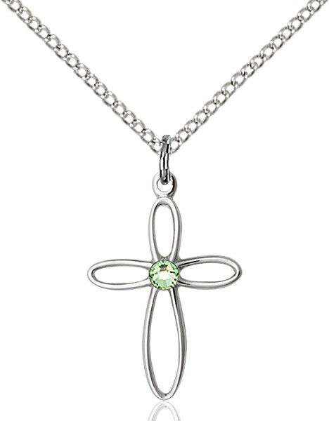 Cut-Out Cross Pendant with Birthstone Options - Peridot
