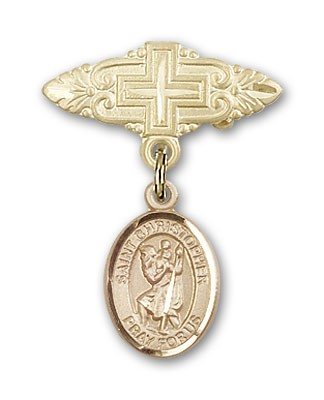 Pin Badge with St. Christopher Charm and Badge Pin with Cross - 14K Yellow Gold