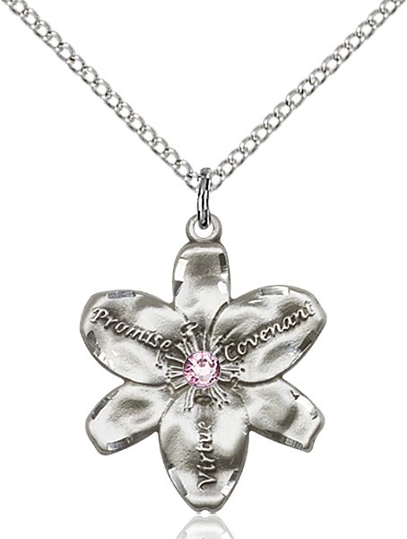 Large Five Petal Chastity Pendant with Birthstone Center - Light Amethyst