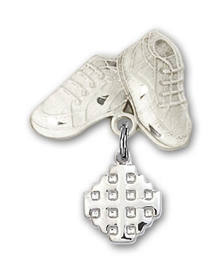 Baby Badge with Jerusalem Cross Charm and Baby Boots Pin - Silver tone