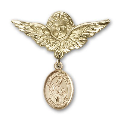 Pin Badge with St. Ambrose Charm and Angel with Larger Wings Badge Pin - 14K Solid Gold