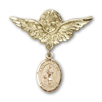 Pin Badge with St. Genesius of Rome Charm and Angel with Larger Wings Badge Pin - 14K Yellow Gold