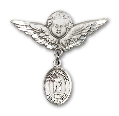 Pin Badge with St. Stephen the Martyr Charm and Angel with Larger Wings Badge Pin - Silver tone