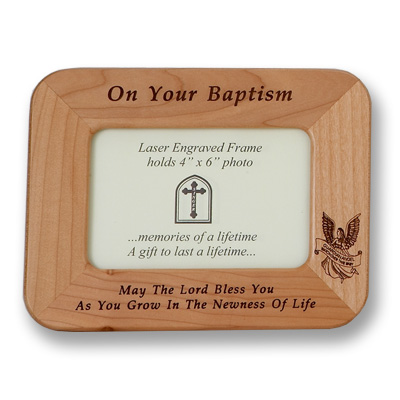 Maple Wood Baptism Photo Frame - Brown