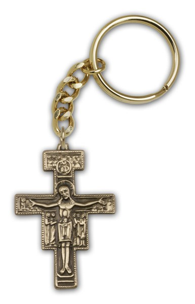 San Damiano Keychain - Antique Gold