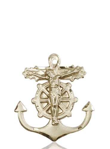 Anchor Crucifix Medal - 14K Solid Gold