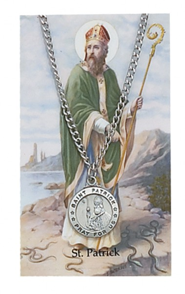 Round St. Patrick Medal with Prayer Card - Silver tone