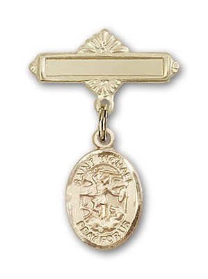 Pin Badge with St. Michael the Archangel Charm and Polished Engravable Badge Pin - 14K Yellow Gold