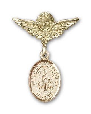 Pin Badge with Lord Is My Shepherd Charm and Angel with Smaller Wings Badge Pin - Gold Tone