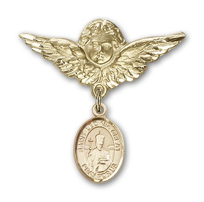 Pin Badge with St. Leo the Great Charm and Angel with Larger Wings Badge Pin - 14K Solid Gold