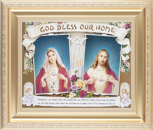 God Bless Our Home Sacred Heart and Immaculate Heart Framed Print - #138 Frame