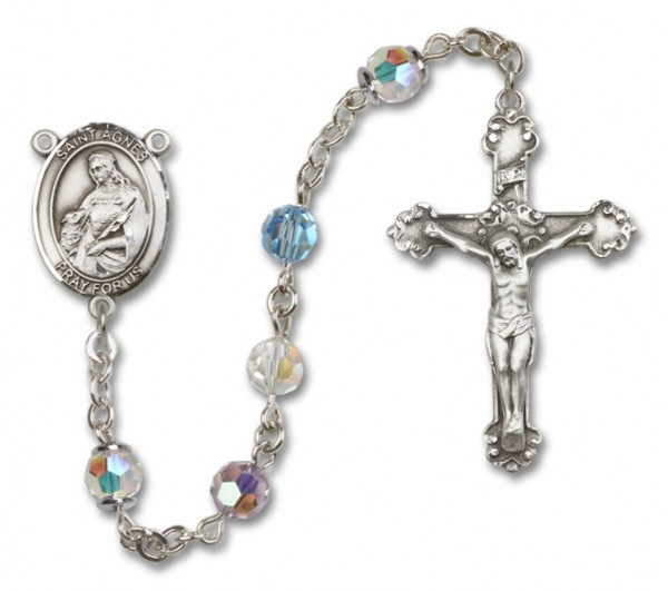 St. Agnes of Rome Sterling Silver Heirloom Rosary Fancy Crucifix - Multi-Color