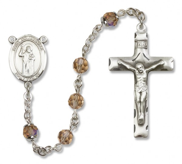 St. Columbkille Sterling Silver Heirloom Rosary Squared Crucifix - Topaz