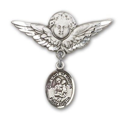 Pin Badge with Our Lady of Knock Charm and Angel with Larger Wings Badge Pin - Silver tone