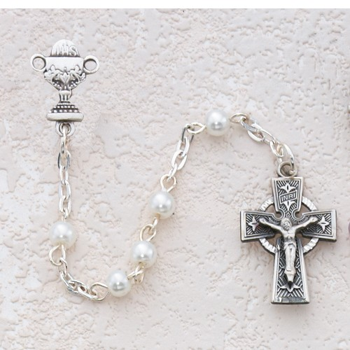 Girl's Irish First Communion Rosary in Pewter - Pearl White