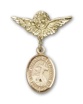 Pin Badge with St. Bernard of Clairvaux Charm and Angel with Smaller Wings Badge Pin - 14K Solid Gold