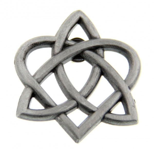 "Celtic Trinity Heart Lapel Pin - 1"" - Antique Silver"