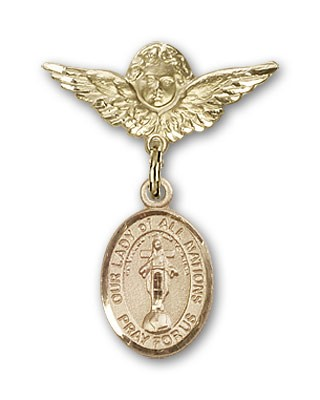 Pin Badge with Our Lady of All Nations Charm and Angel with Smaller Wings Badge Pin - 14K Yellow Gold
