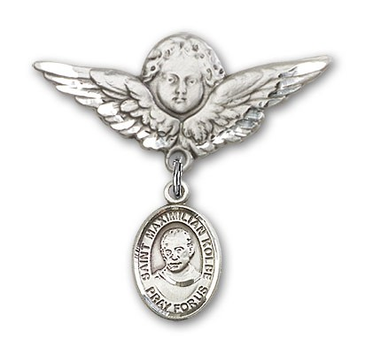 Pin Badge with St. Maximilian Kolbe Charm and Angel with Larger Wings Badge Pin - Silver tone