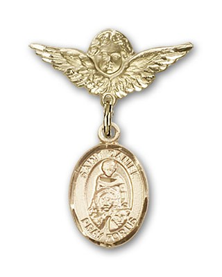 Pin Badge with St. Daniel Charm and Angel with Smaller Wings Badge Pin - 14K Yellow Gold