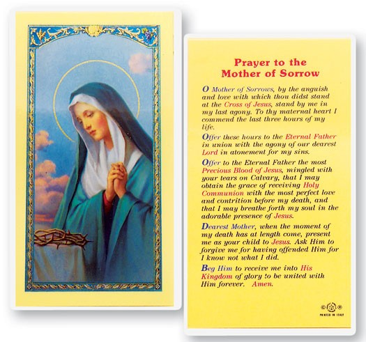 Mother of Sorrow Laminated Prayer Cards 25 Pack - Full Color