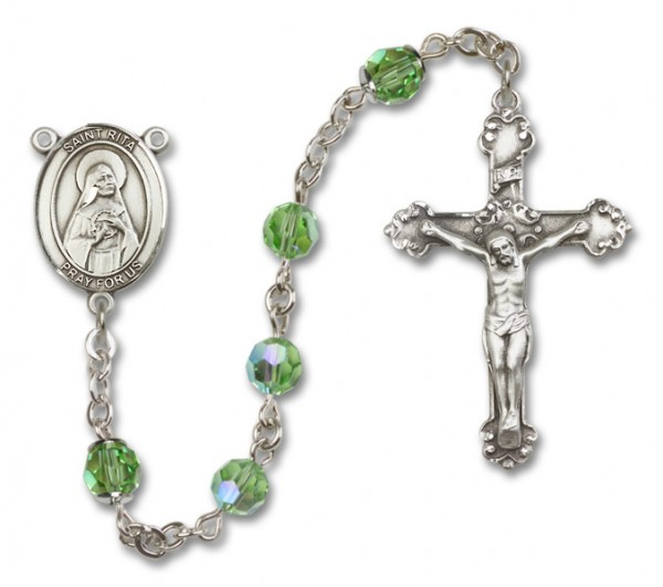 St. Rita of Cascia Sterling Silver Heirloom Rosary Fancy Crucifix - Peridot