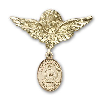 Pin Badge with St. Walburga Charm and Angel with Larger Wings Badge Pin - Gold Tone