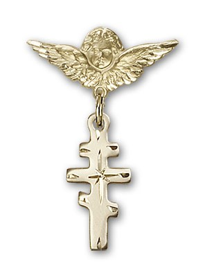 Pin Badge with Greek Orthadox Cross Charm and Angel with Smaller Wings Badge Pin - 14K Solid Gold