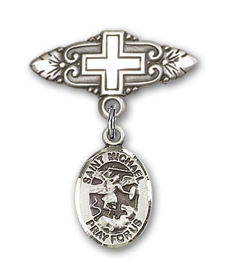 Pin Badge with St. Michael the Archangel Charm and Badge Pin with Cross - Silver tone