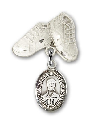 Pin Badge with Blessed Pier Giorgio Frassati Charm and Baby Boots Pin - Silver tone