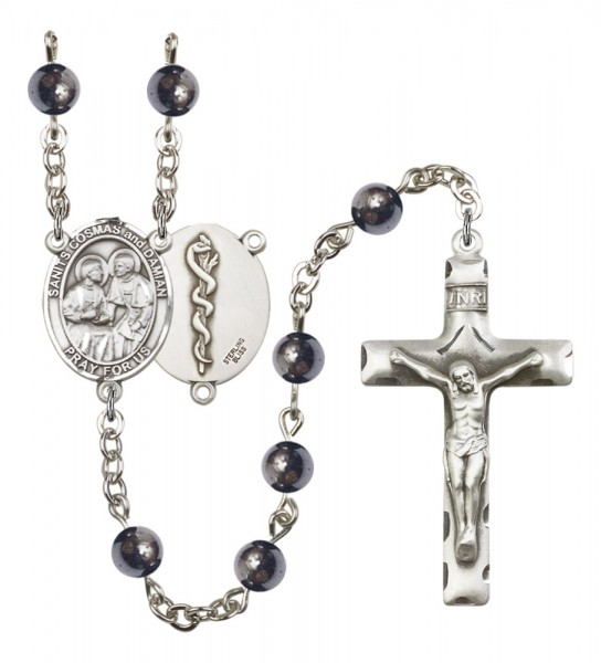 Men's Sts. Cosmas & Damian Doctors Silver Plated Rosary - Gray
