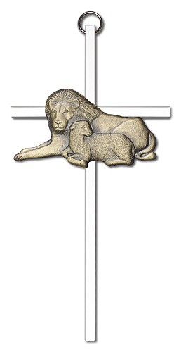 "Lion and Lamb Wall Cross 6"" - Two-Tone Silver"