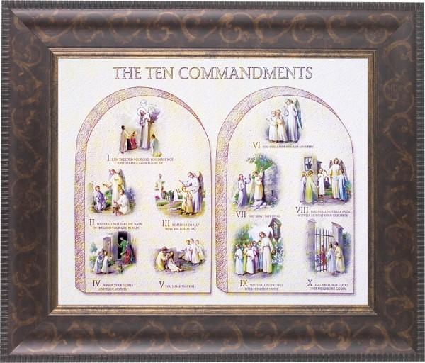 Catholic Ten Commandments Illustrated Framed Print - #124 Frame