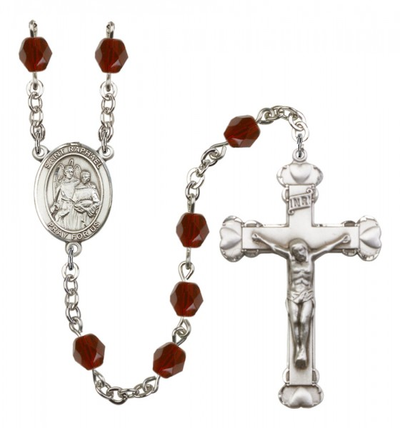 Women's St. Raphael the Archangel Birthstone Rosary - Garnet