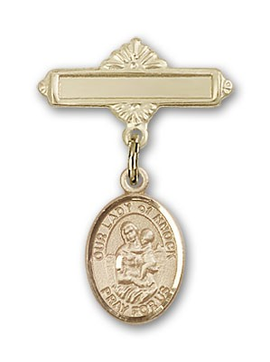 Pin Badge with Our Lady of Knock Charm and Polished Engravable Badge Pin - 14K Yellow Gold