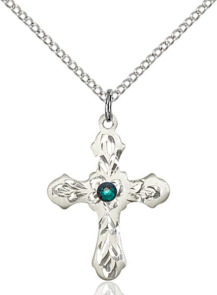 Medium Floral and Petal Cross Pendant with Birthstone Options - Emerald Green
