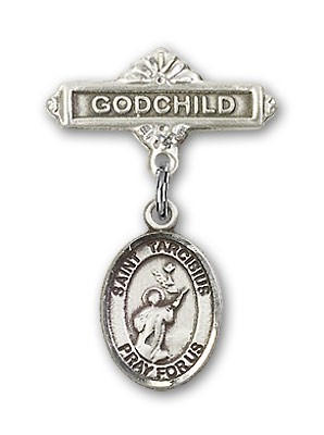 Pin Badge with St. Tarcisius Charm and Godchild Badge Pin - Silver tone
