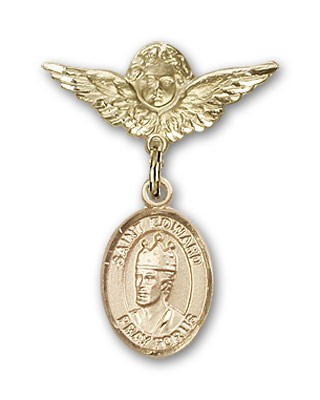 Pin Badge with St. Edward the Confessor Charm and Angel with Smaller Wings Badge Pin - Gold Tone