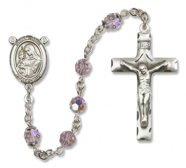 St. Clare of Assisi Sterling Silver Heirloom Rosary Squared Crucifix - Light Amethyst
