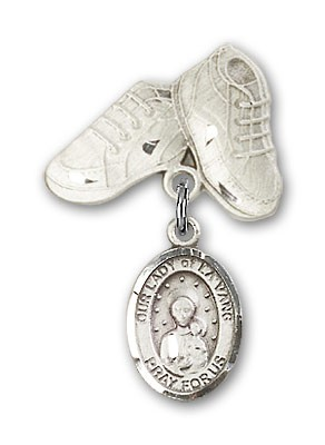 Baby Badge with Our Lady of la Vang Charm and Baby Boots Pin - Silver tone