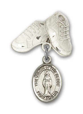 Baby Badge with Virgin of the Globe Charm and Baby Boots Pin - Silver tone