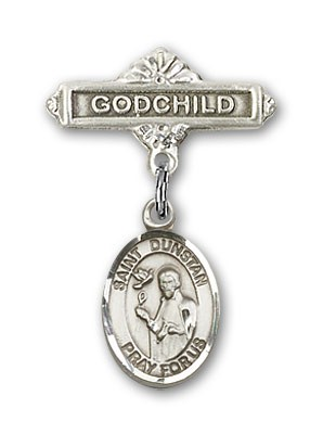 Pin Badge with St. Dunstan Charm and Godchild Badge Pin - Silver tone