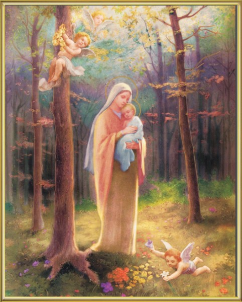 Madonna of the Woods Gold Framed Print - Full Color