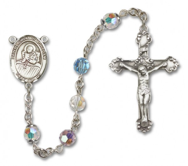 St. Lidwina of Schiedam Sterling Silver Heirloom Rosary Fancy Crucifix - Multi-Color