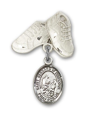Pin Badge with St. Bernard of Montjoux Charm and Baby Boots Pin - Silver tone