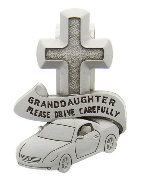 "Granddaughter Please Drive Carefully Visor Clip, Pewter - 2 1/2""H - Silver"